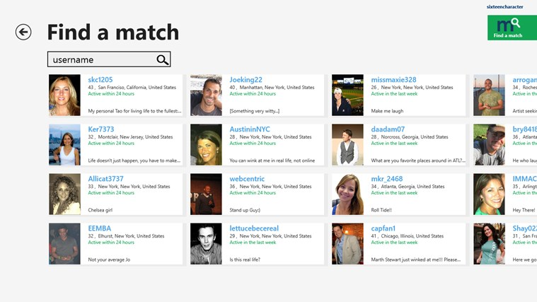 Match.com screen shot 2