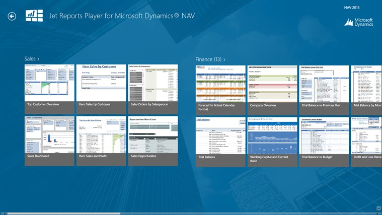 Jet Reports Player for Microsoft Dynamics® NAV screen shot 0