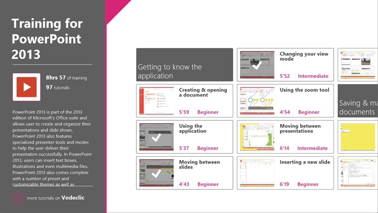 Training for PowerPoint 2013 by Vodeclic screenshot 0