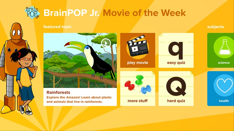 BrainPOP Jr. Movie of the Week screen shot 0