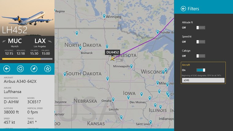 FlightRadar24 schermafbeelding 4