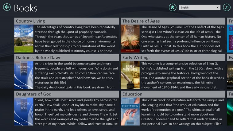 EGW Writings screen shot 2