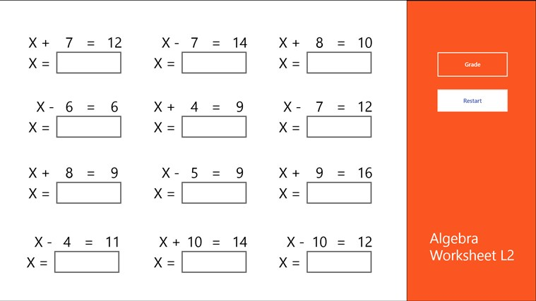 Algebra Worksheet L2 app for Windows in the Windows Store