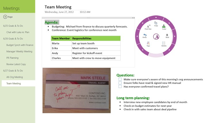 OneNote MX screen shot 2
