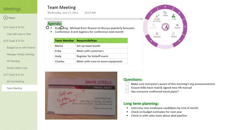 OneNote MX captura de pantalla 2
