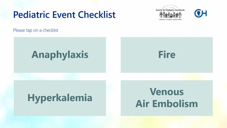Pediatric Event Checklist screen shot 0