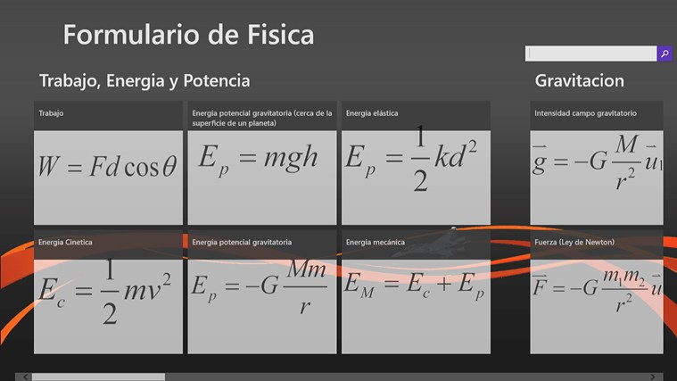 Formulario de Fisica for Windows 8 app, free download on Store