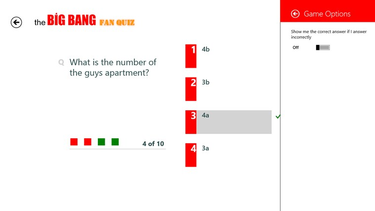The Big Bang Fan Quiz screen shot 2