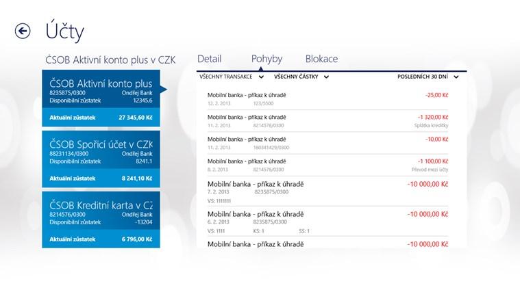 ČSOB SmartBanking snímek obrazovky 2