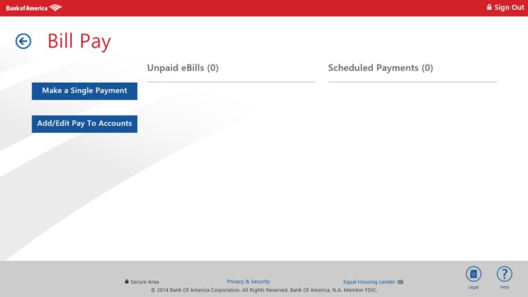 Bank of America screen shot 2