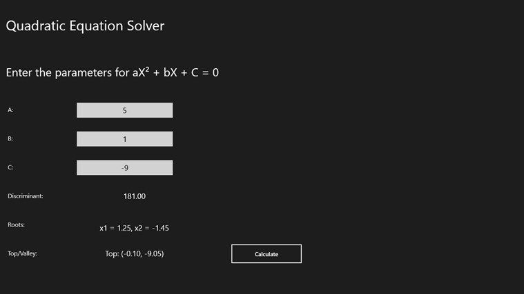 Easy Equation Easy Quadratic Equation Solver