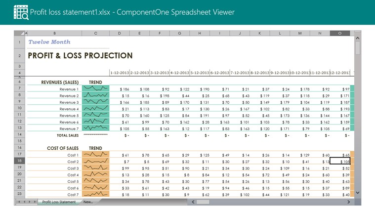ComponentOne Spreadsheet Viewer screen shot 0