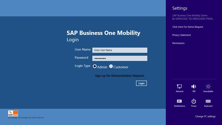 SAP Business One Mobility Demo screen shot 0