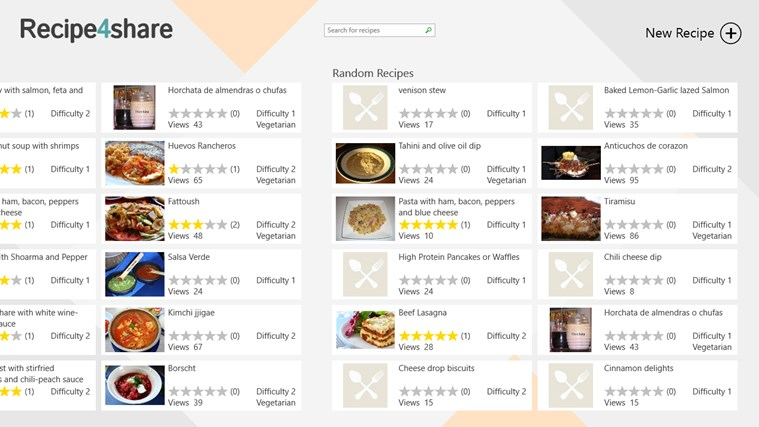 Recipe4share screen shot 2