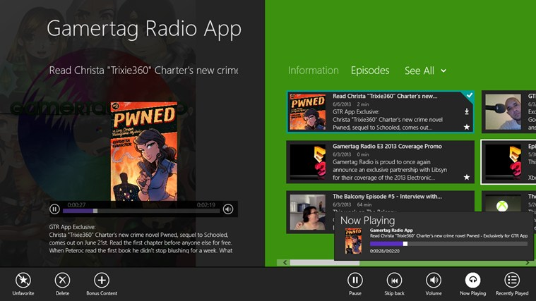Gamertag Radio App screen shot 2