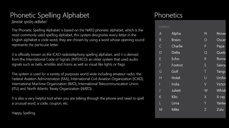Phonetic Alphabet screen shot 0