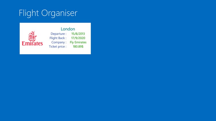 Flight Organiser screen shot 2