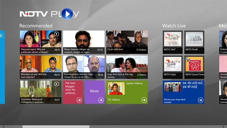NDTV Play for Win8 UI  full