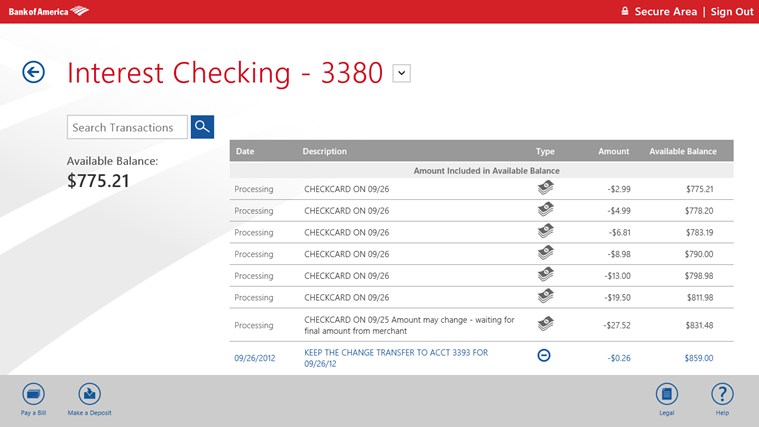 Online Banking Screenshot Bank of America Screenshots