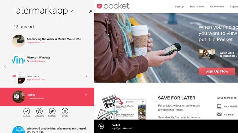 Screenshot.247724.1000003 Latermark: Pocket auf Windows 8 & Windows RT nutzen