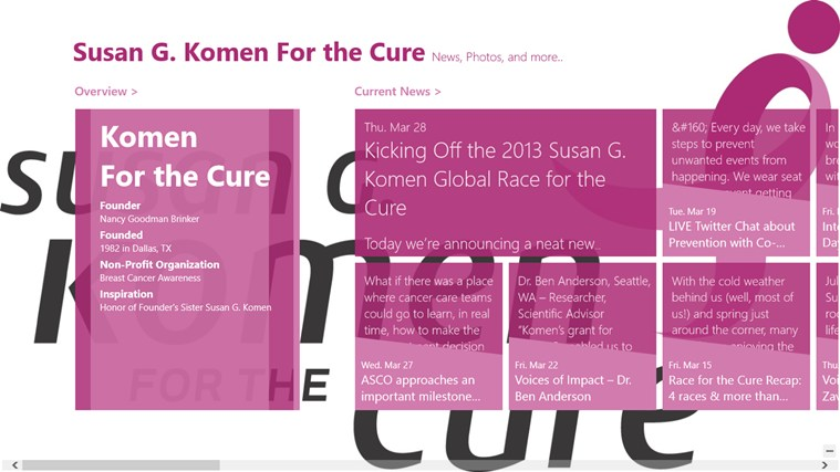 Susan G. Komen For the Cure App screen shot 2