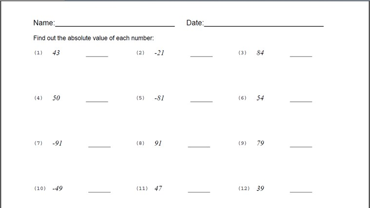 compare integers worksheet