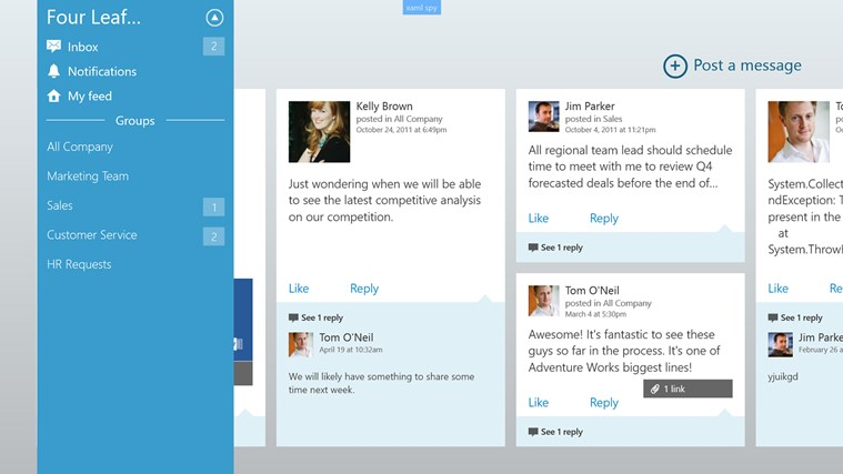 Yammer screen shot 4