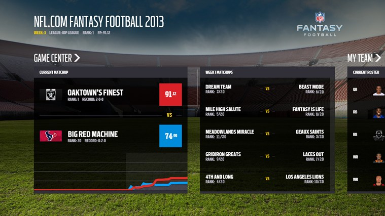 NFL.com Fantasy Football 2013 screen shot 0