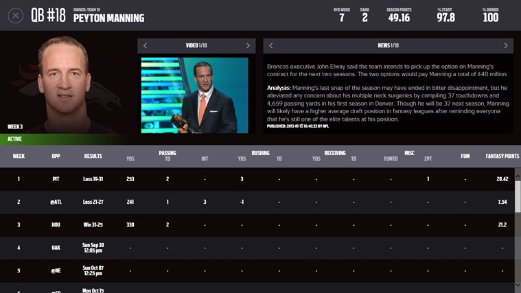 NFL.com Fantasy Football 2013 screen shot 4