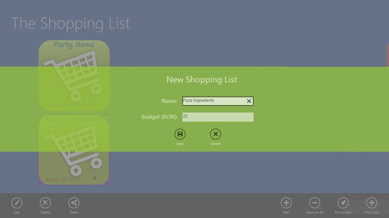 The Shopping List screen shot 2