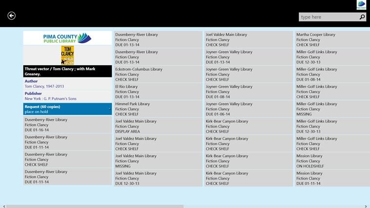 Pima County Public Library screen shot 2