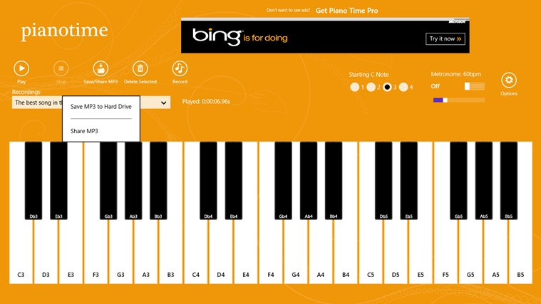 Piano Time snímek obrazovky 2
