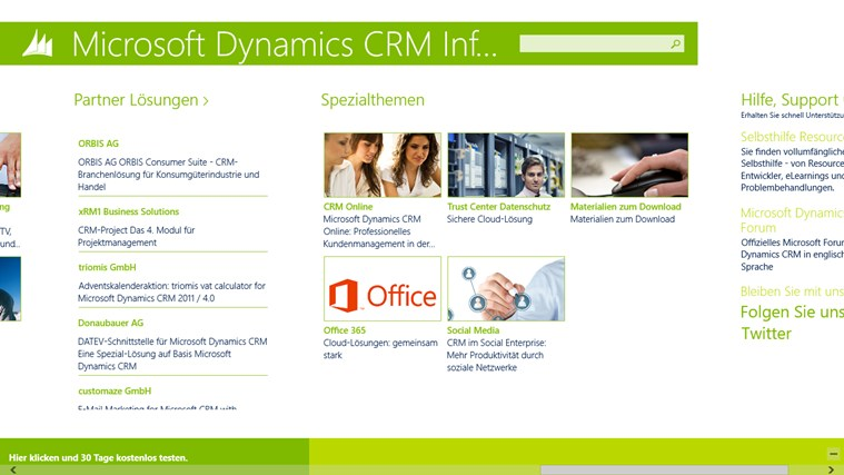 Microsoft Dynamics CRM Infocenter Screenshot 2