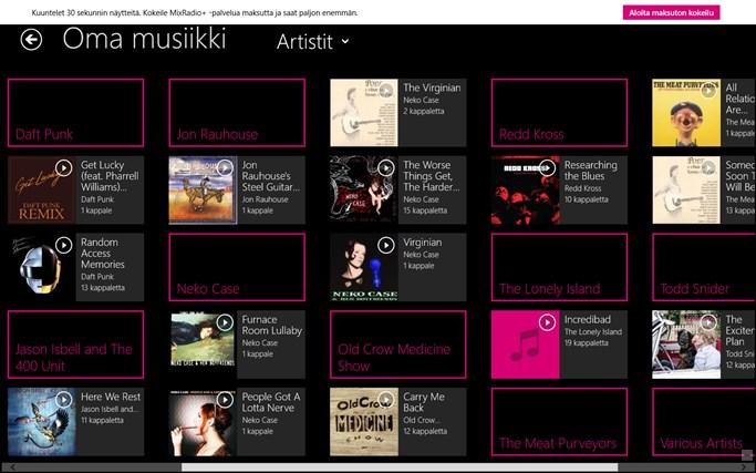 MixRadio näyttökuva 2