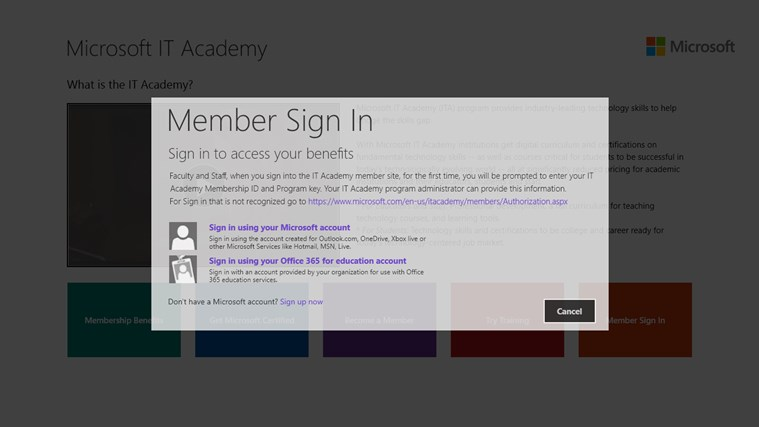 Microsoft IT Academy screen shot 2
