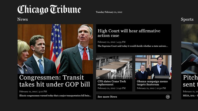 Chicago Tribune screen shot 0