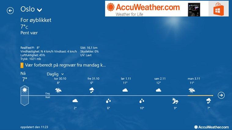 AccuWeather for Windows 8 skjermbilde 0