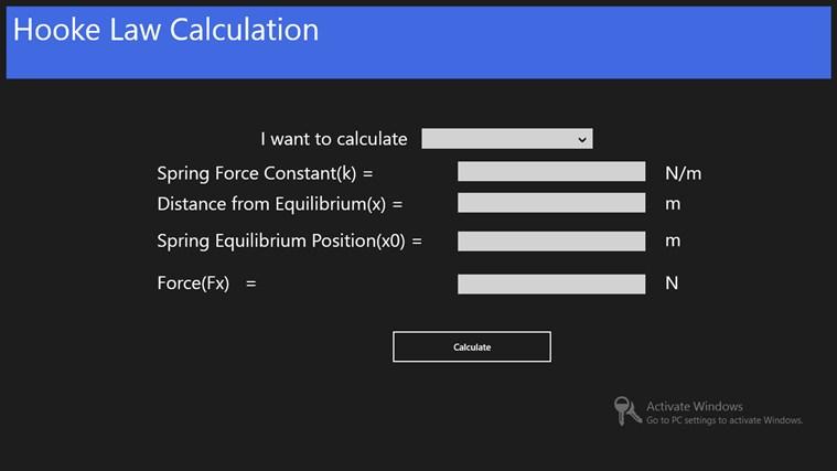 Hooke Law Calculation اسکرین شاٹ 0