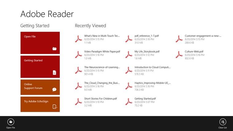 Adobe Reader Touch screen shot 0