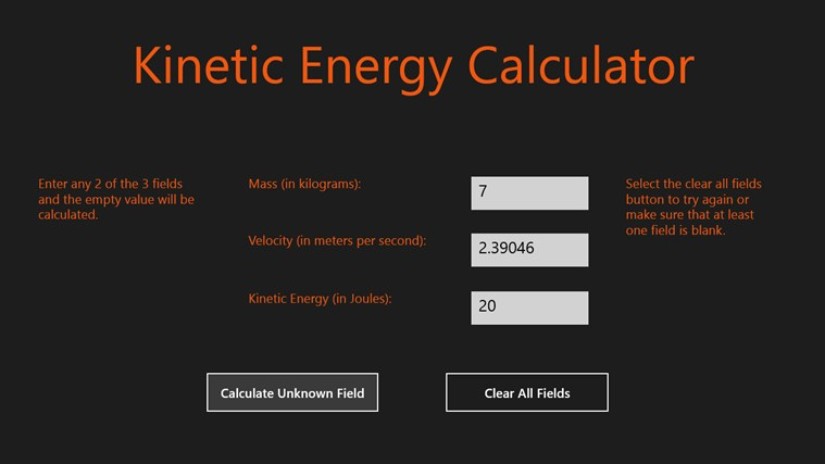 Kinetic Energy Calculator screen shot 0