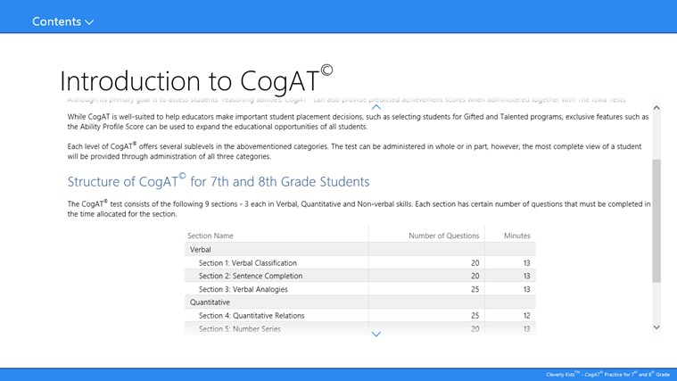 Cleverly kids cogat 169 practice for 7th amp 8th grade app for windows