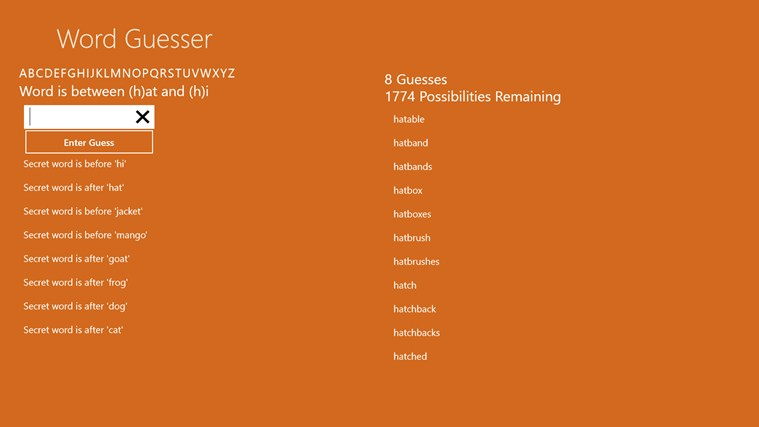 Word Guesser in the Windows Store