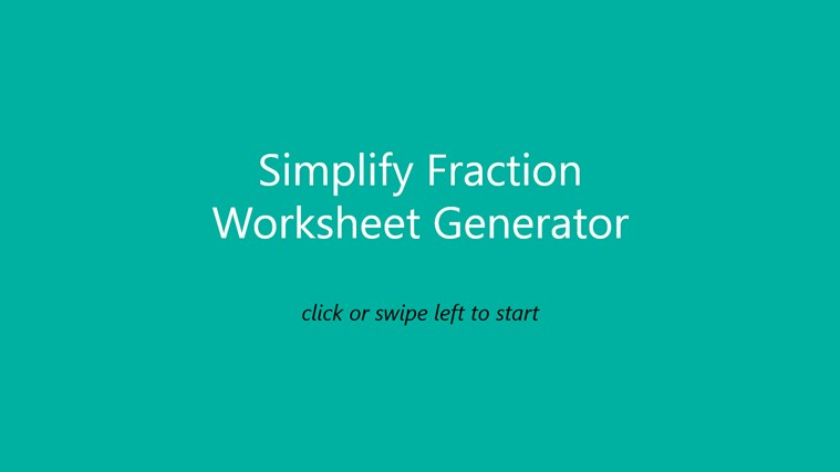 Simplify Fraction Worksheet screen shot 0