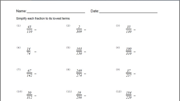Simplify Fractions Worksheet – Reduce Fractions Worksheets