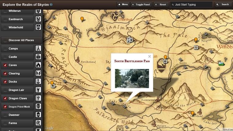 Skyrim Map HD screen shot 2