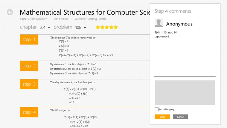 Chegg Textbook Solutions screen shot 4