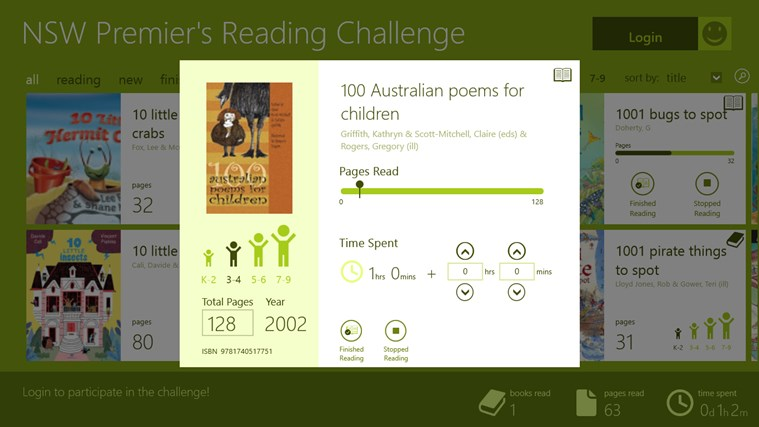 NSW Premier's Reading Challenge Preview screen shot 2