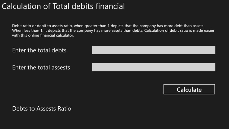 Calculation of Total debits financial screen shot 0