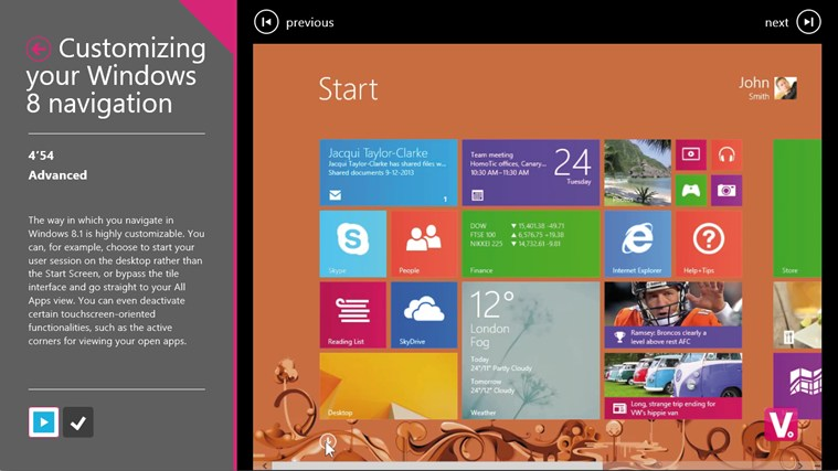 Training for Windows 8 by Vodeclic screenshot 2