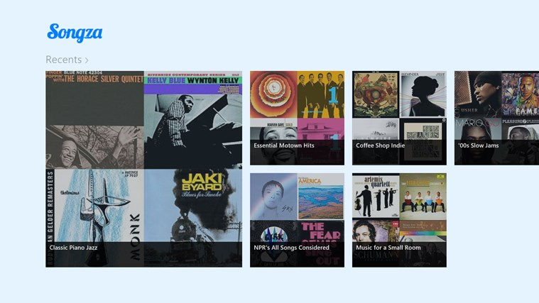 Songza screen shot 2